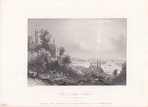 City of Buda, or Offen from the observatory, Stahlstich um 1845 von R. Wallis und W.H. Bartlett, ...