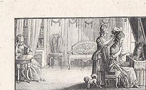 Frisur, Perücke, Toilette, Ankleidezimmer, kleinformatiger Kupferstich um 1750 mit Blick in ...