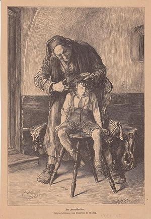 Der Haarschneider, Kind, Schere, Holzstich um 1870 nach einer Originalzeichnung von Professor N. ...