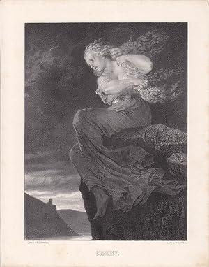 Loreley, Kamm, original Lithographie um 1866 von M. Ulffers nach Ad. Schmitz, Blattgröße...