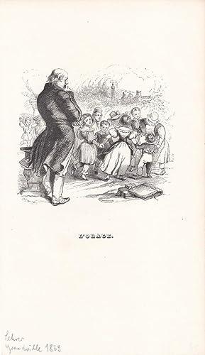 Lehrer, L Orage, Kinder, Schüler, Holzstich um 1839 von Grandville, Blattgröße: ...