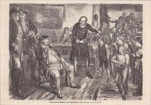 König Friedrich Wilhelm I. hält Schulexamen, Holzstich um 1855 nach dem Gemälde von ...
