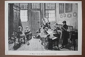 In der Kleinkinderbewahranstalt, Kindergarten, Holzstich um 1890, Blattgröße: 26,5 x 38 ...