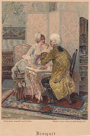 Bisquit, Gebäck, Farblithographie um 1890 nach einem Aquarell von H. Lefler, Blattgrö&...