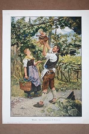Weinlese, Familie, Kind, Tracht, Kostüm, Farbholzstich um 1890 nach dem Gemälde von R. ...