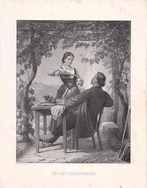 Auf der Wanderschaft, Wein, Rebe, Schoppen, schöne Lithographie um 1855 von A. Dirks nach Ch. ...