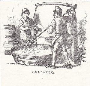 Brauerei, Bier, Brewing, Brauer, kleinformatige Lithographie um 1840, Blattgröße: 7,5 x ...