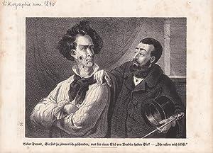 Rasur, Barbier, Zylinder, Gehstock, schöne Lithographie um 1840 mit humoristischem Text, ...