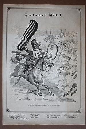 Kamm, Seife, Kosaken, Pferd, Toilette, humoristische Lithographie um 1880, Blattgröße: ...
