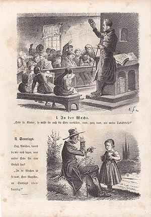 Schuler, Lehrer, Kinder, Klasse, humoristische Lithographie um 1840 mit zwei Abbilldungen und ...