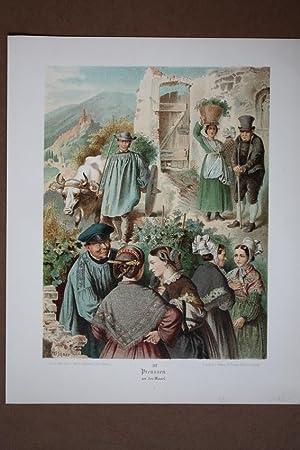 Weinanbau, Preussen an der Mosel, Trachten, Kostüme, schöne Chromolithographie um 1890 ...