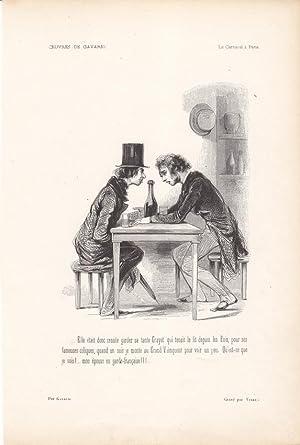 Wein, Männer im Gespräch, Diskussion, Holzstich um 1840 von Gavarni, Blattgröß...