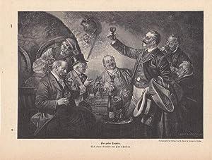 Ein guter Tropfen, Weinkeller, Schoppen, Zylinder, Zecher, Holzstich um 1880 nach einem Gemä...