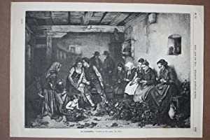 Das Hopfenpflücken, Bier, Bauern, schöner Holzstich um 1880 nach einem Gemälde von ...