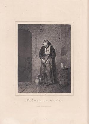 Die Entdeckung in der Bierschenke, Fass, Krug, Stahlstich um 1865 von J. Kracker, Blattgrö&...