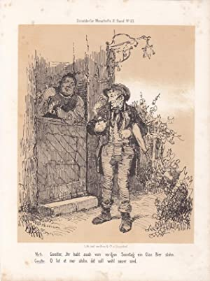 Bier, Schänke, Wirt, Pfeife, Tabak, Lithographie um 1855 aus Düsseldorfer Monathefte, ...