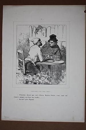 Schnaps, Spirituosen, Männer, Zecher, Lithographie um 1850 von Gavarni, Blattgröße:...