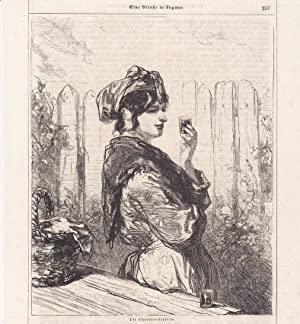 Die Liqueurverkäuferin, Alkohol, Spirituosen, Lithographie um 1870, Blattgröße: 22 ...