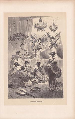 Japanisches Kaffeehaus, Holzstich um 1860, Blattgröße: 23,5 x 15 cm, reine Bildgrö&...