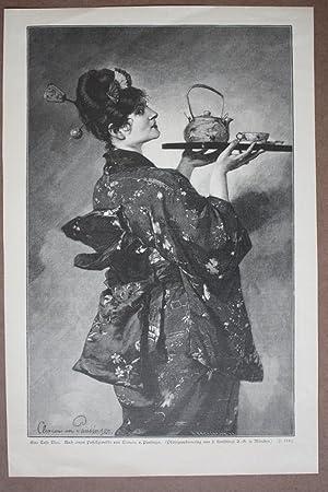 Japan, Geisha, Eine Tasse Tee, Holzstich von 1891 nach einem Pastellgemälde von Clemens v. ...