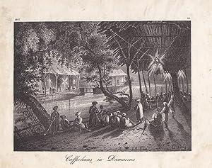 Caffeehaus in Damascus, Lithographie um 1840 mit Blick auf Caffeehäuser, die an einem Fluss ...