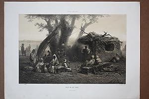 Caffée bei Alt-Cairo, getönte Lithograhie um 1859 von A. Schönn, Blattgrö&...