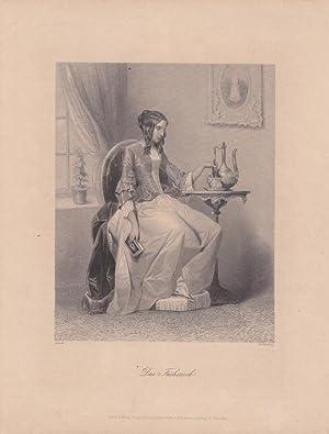 Das Frühstück, Kaffee, Tee, Schokolade, Stahlstich um 1850 von W. French nach Sinnett aus...