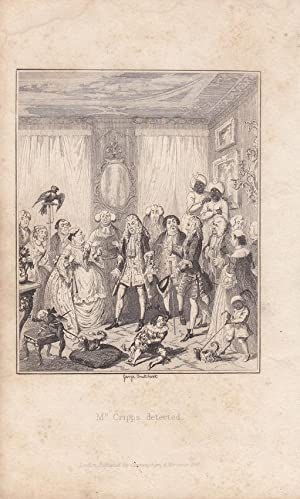 Mr. Cripps detected, Papagei, Affe, Hund, Lithographie von 1821 von George Cruikshank (1792 - 187...