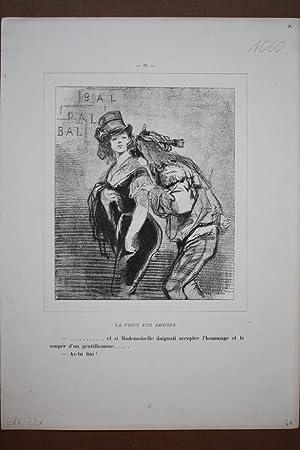 Maskenball, Karneval, La Foire aux amours, Lithographie um 1860 von Paul Gavarni (1804 - 1866) ...