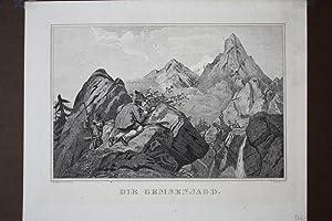 Die Gemsenjagd, Jäger, Gebirge, original Lithographie um 1845 von F. Zelinka und C.W. Medau &...
