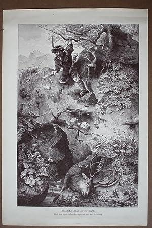 Altdeutscher Jäger auf der Pürsch, Holzstich um 1877 nach Karl Schultheiß, Blattgr&...