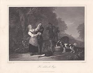 Der schäkernde Jäger, Hunde, Stahlstich um 1850 von W. Witthoeft nach Jan Beldemacker, ...