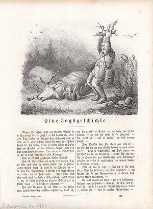 Eine Jagdgeschichte, Reh, Hase, Jäger, Lithographie um 1850