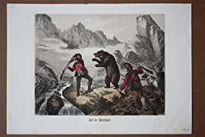 Auf der Bärenjagd, Gewehre, Jäger, Hund, altkolorierter Holzstich um 1875, Blattgrö&...