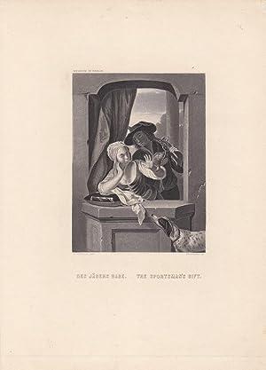 Des Jägers Gabe, The sportsman s gift, Jäger, Hund, Wachtel, Stahlstich um 1855 von ...