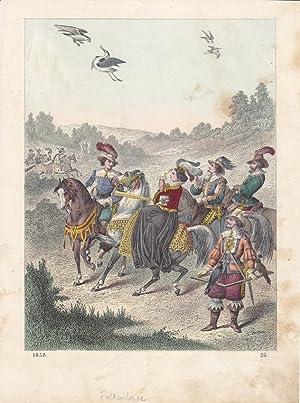 Falke, Reiher, Jagdgesellschaft, Pferde, Renaissance, alktkolorierter Stahlstich von 1858, Blattgr&...
