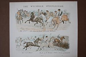 The Wychdale Steeplechase, Pferderennen, Springreiten, The Start, The First Fence, altkolorierte ...