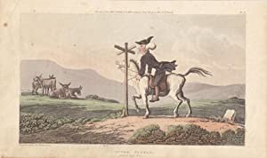 Dr. Syntax losing his way, Pferd, Esel, Wegweiser, altkolorierte Aquatinta von 1819 von Rowlandson,...