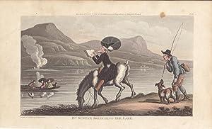 Dr. Syntax sketching the lake, Hund, Angler, Pferd, altkolorierte Aquatinta 1817 von Rowlandson, ...