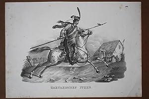 Tartarisches Pferd, Lanze, Soldat, Reiter, Uniform, Lithographie um 1830, Blattgröße: ...