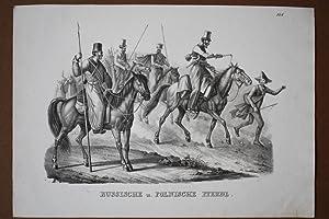 Russische u. polnische Pferde, Lanzen, Reiter, Soldaten, Uniform, Lithographie um 1830, Blattgr&...
