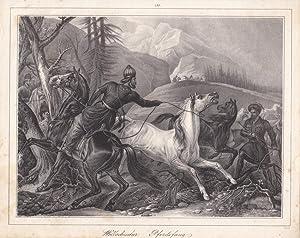 Wallachischer Pferdefang, Lithographie um 1835, Blattgröße: 20,7 x 26 cm, reine Bildgr&...