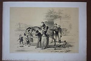 Pferd, Reitunterricht, Hunde, Familie, getönte Lithographie um 1865 von Alexander Ver Huell (...