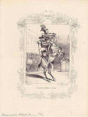 La garde national a cheval, Pferd, Militär, Uniform, humoristische Lithographie von 1839 von ...