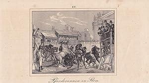 Pferderennen in Rom, Reiter, Militär, Soldat, Uniform, Italien, Stahlstich um 1860, Blattgr&...
