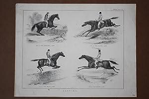 Springreiten, Pferd, Hindernisse, Lithographie um 1860 mit vier Einzelabbildungen von Springpferden...