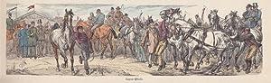 Luxus Pferde, Pferderennen, Jockey, altkolorierter Holzstich um 1890, Blattgröße: 9 x 31...
