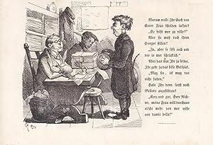 Richter, Scheidung, Holzstich um 1870 mit dazugehörigem Text, Blattgröße: 14,2 x 20...