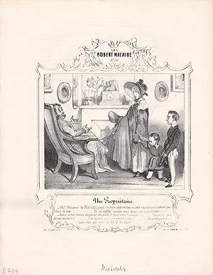 Vermieter, Hausbesitzer, Mutter, Kinder, Miete, Lithographie um 1840, Blattgröße: 26,7 x...