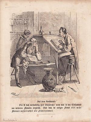 Standesamt, Auf dem Rathhause, Holzstich um 1860 darunter typographisch bedruckt, Blattgrö&...